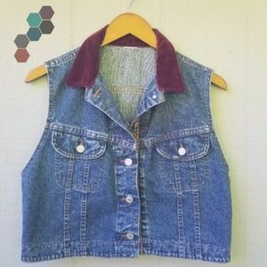 VTG Lee Denim Vest Velvet Carpet Medium Wash Blue